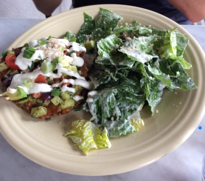 Raw pizza and cesar salad from Cafe Gratitude Venice Beach: to die for!