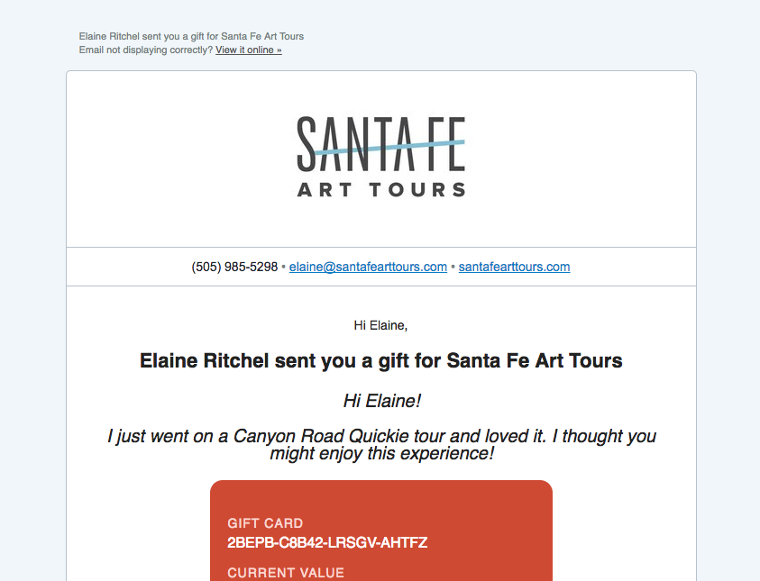 santa fe art tours gift card 5