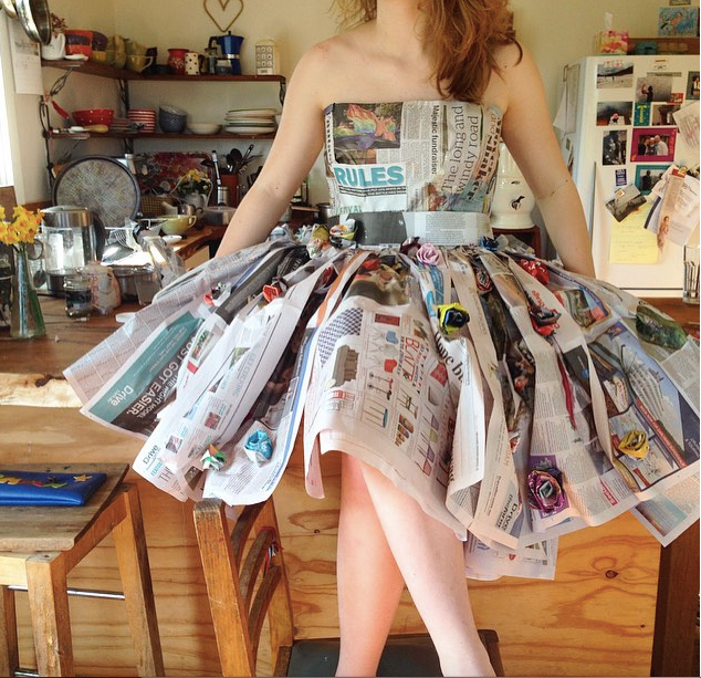 Young women recycling and creating art, bella magazine.