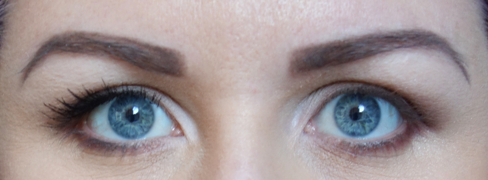 Left Eye wears Too Faced Better Than Sex Mascara - Right Eye wears no mascara