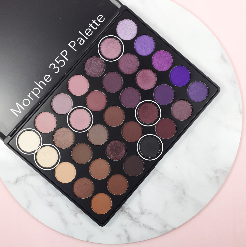 MORPHE BRUSHES 35P PALETTE - CIRCLED SHADOWS WERE USED TO CREATE THIS LOOK.