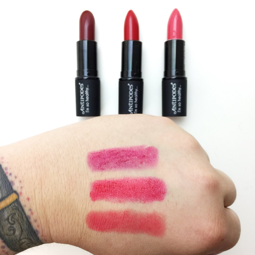 Marisa Robinson Beauty Blogger Antipodes Moisture-Boost Lipstick Swatches