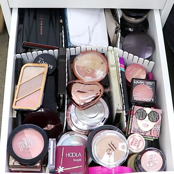 Marisa Robinson Beauty Blogger Makeup Storage IKEA Alex Drawers Acrylic Dividers Before