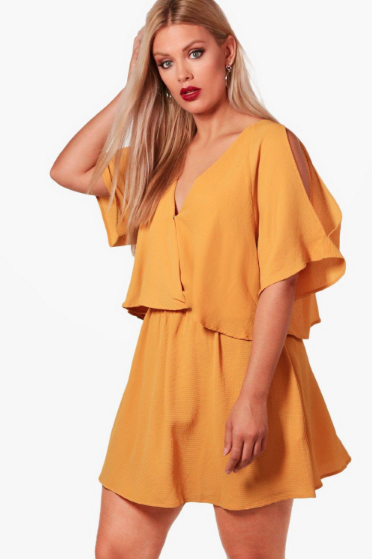 Boohoo Plus Izzy Ruffle Open Shoulder Dress