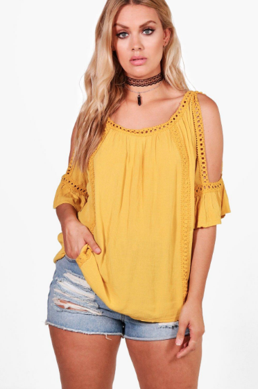 Boohoo Plus Bianca Cold Shoulder Crochet Trim Top