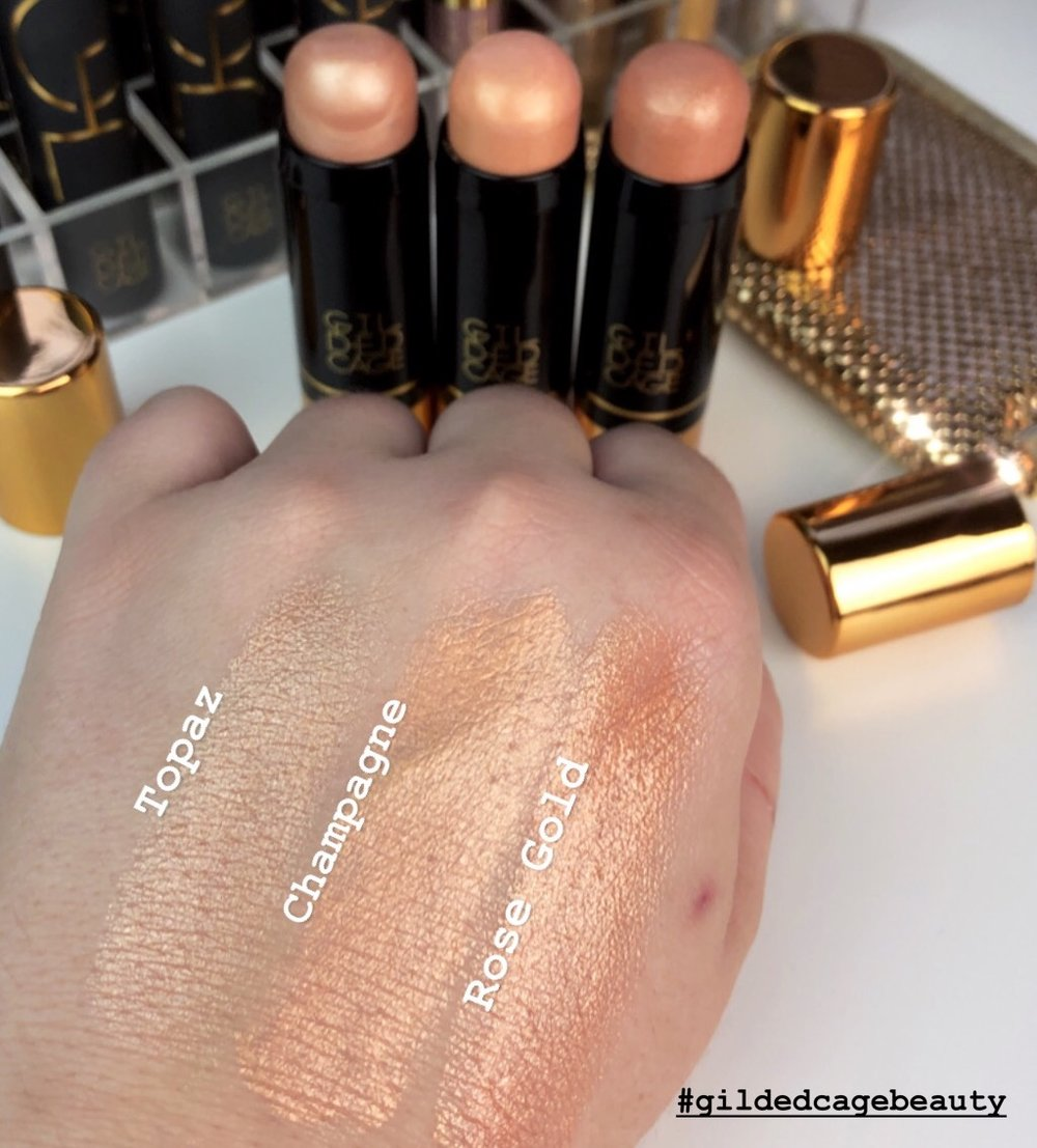 Gilded Cage Beauty Highlighter Swatches