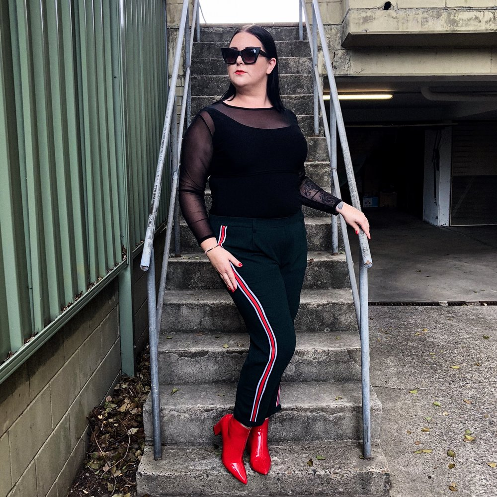 Plus Size Fashion Outfit Red Boots