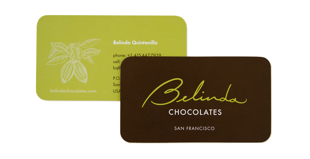 Business card with rounded edges for Belinda Chocolates