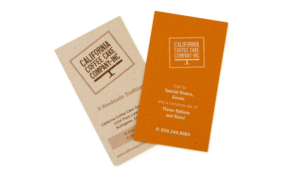 2-sided business card for California Coffee Cake Co.