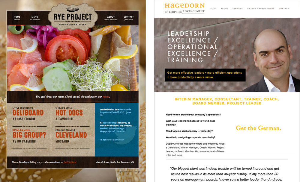 A custom WordPress site for  Rye Project  and a Squarespace site for Hagedorn Enterprise Advancement
