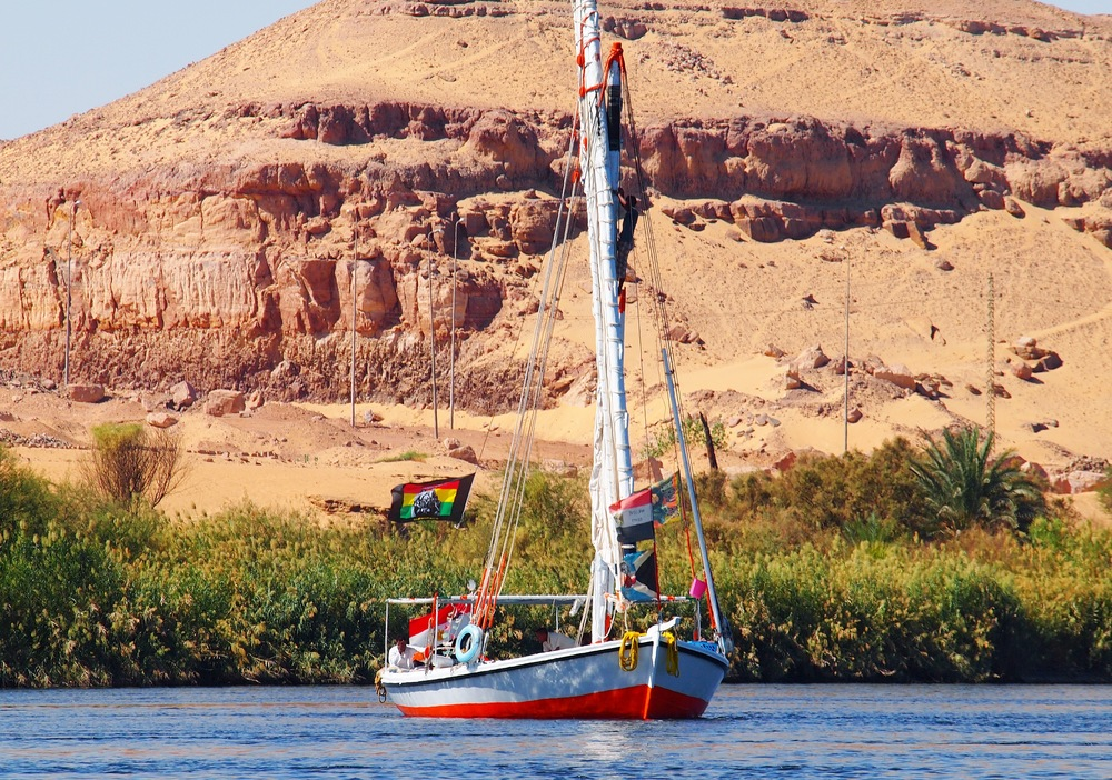 Our felucca, the  Freedom Love,  named in honour of Bob Marley.