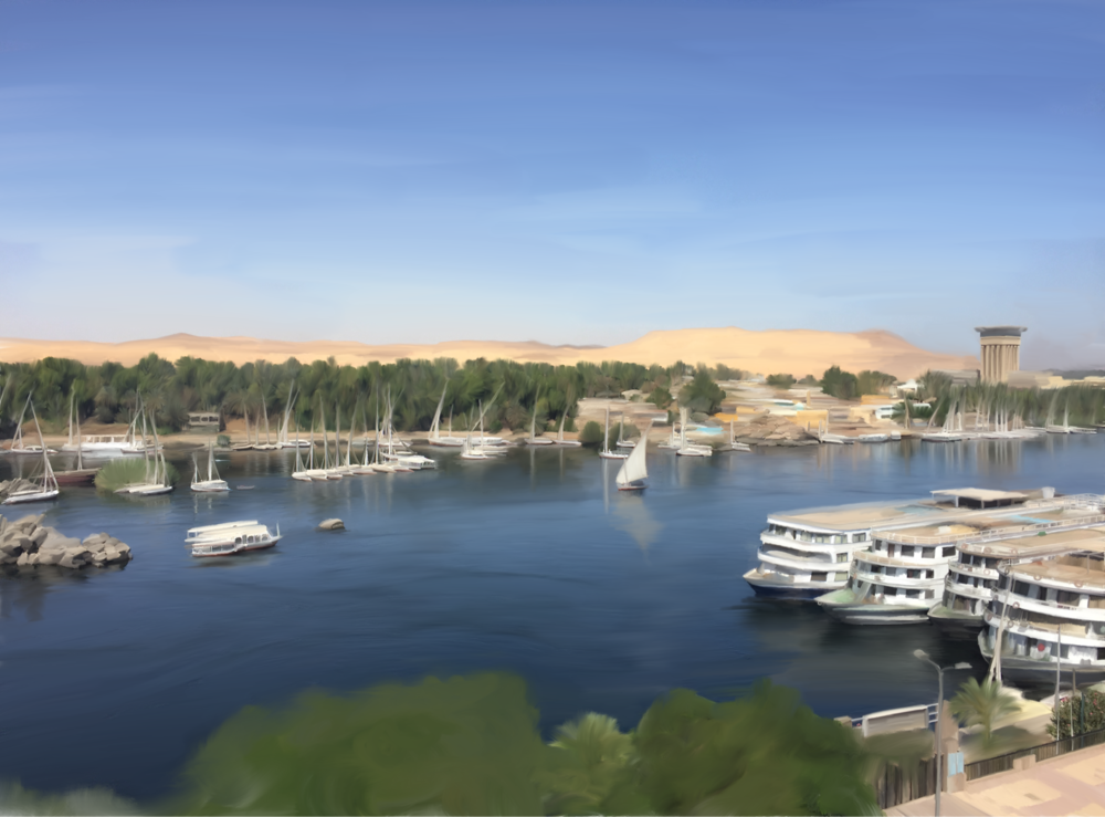 The Nile from The Nile Hotel, Aswan.  Digital oil painting.