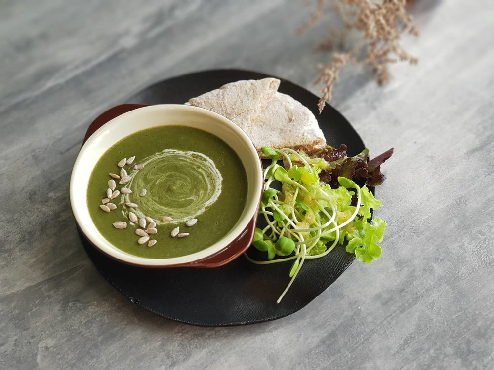 Vegan Spinach Soup - served with wholewheat pita bread and mini salad