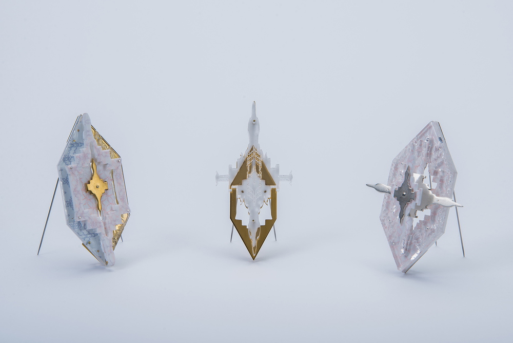Brooches, 18k gold plated sterling silver, acrylic, aluminium.  Photograph by Gavin Craigie,
