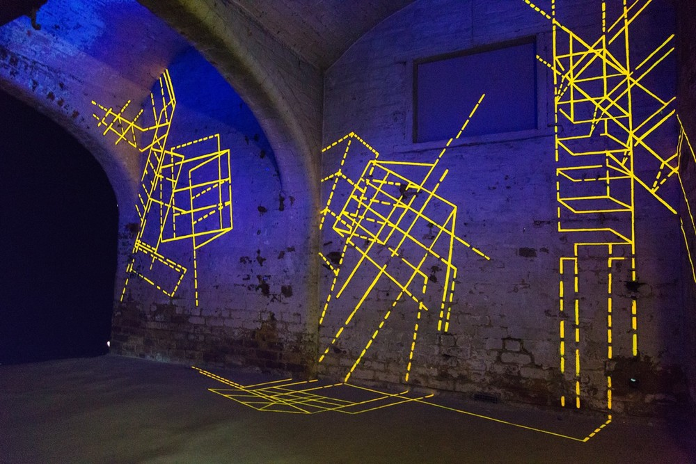 Skeletal Drawing: sodium vapour (2015) phosphorescent acrylic on masonry, approx. 4m x 9.5m   photo credit: Anneleen Lindsay    www.anneleenphotography.com
