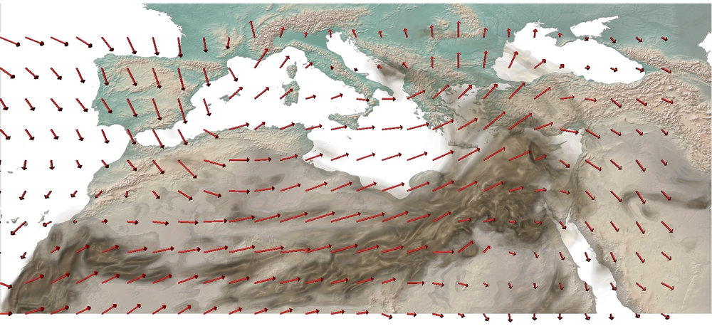 Near-surface winds over the EM/MENA region which mobilize dust - mainly from the Sahara Desert - are transported across the region east and northwards covering Egypt, Crete, Cyprus, and parts of Greece and Turkey. Source: The Cyprus Institute.