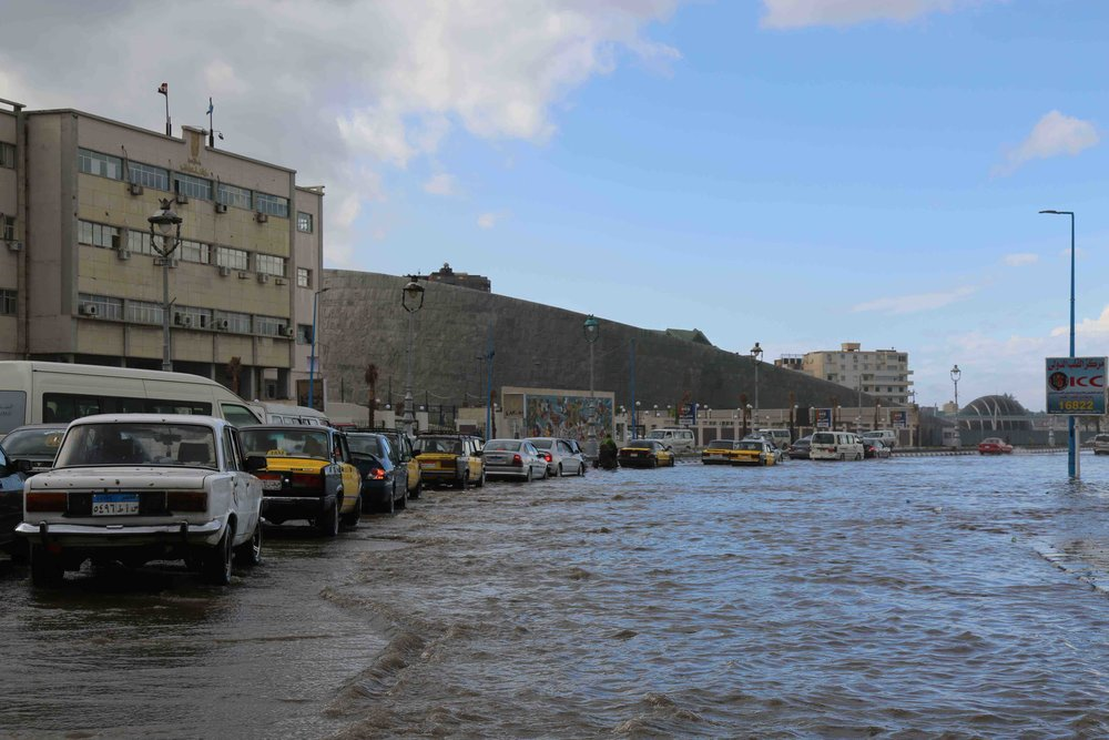 City traffic in floodwater along the seafront, by the Bibliotheca Alexandrina building.