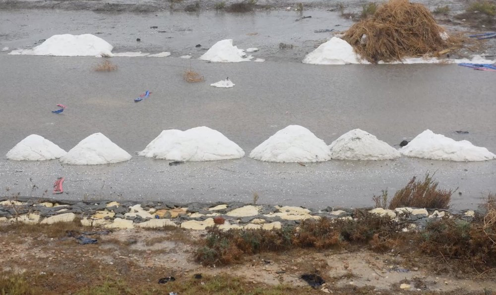Piles of salt resulting from the evaporation of salty groundwater in the Nile Delta areas