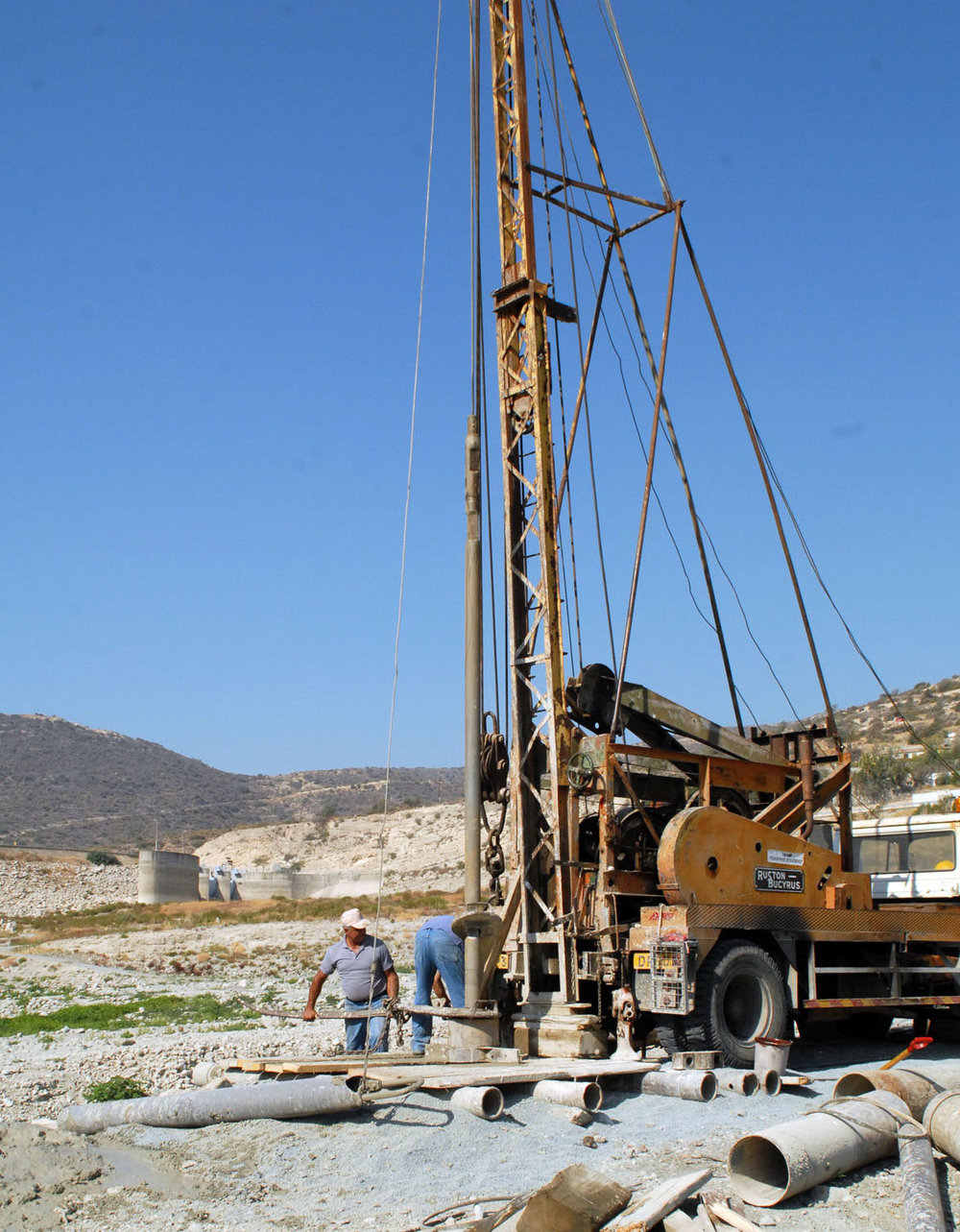 Drilling for groundwater in the basin of an empty dam (Limassol), 2007