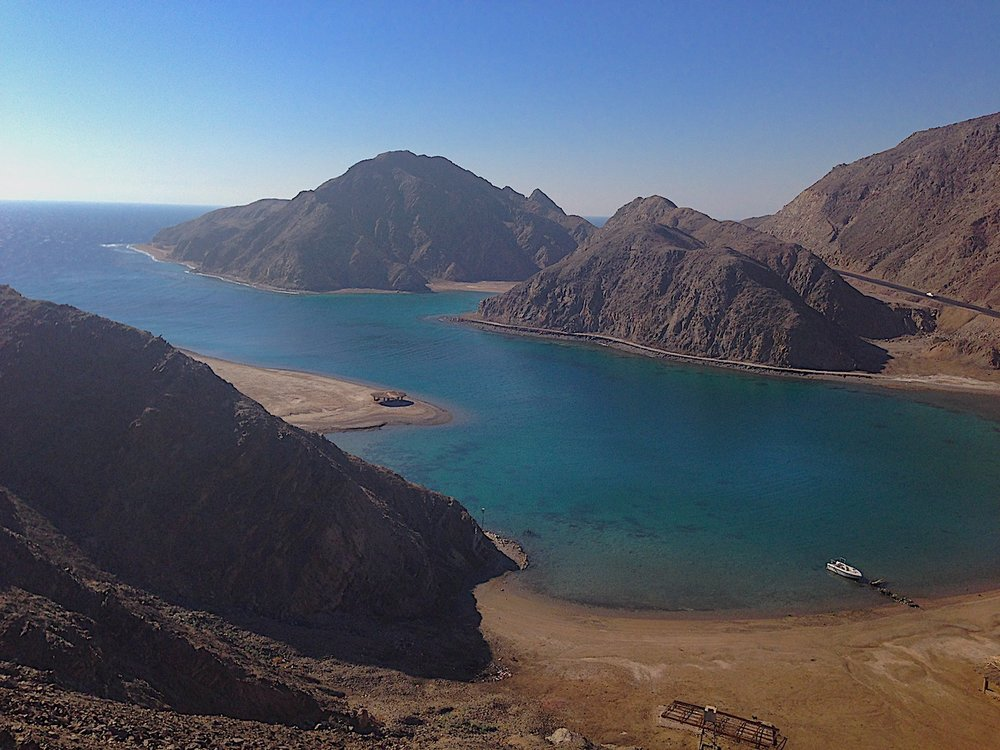 View of Fjord Beach from the Nuweiba-Taba Road, one of the many other sites visited on the Sinai leg of this research trip.