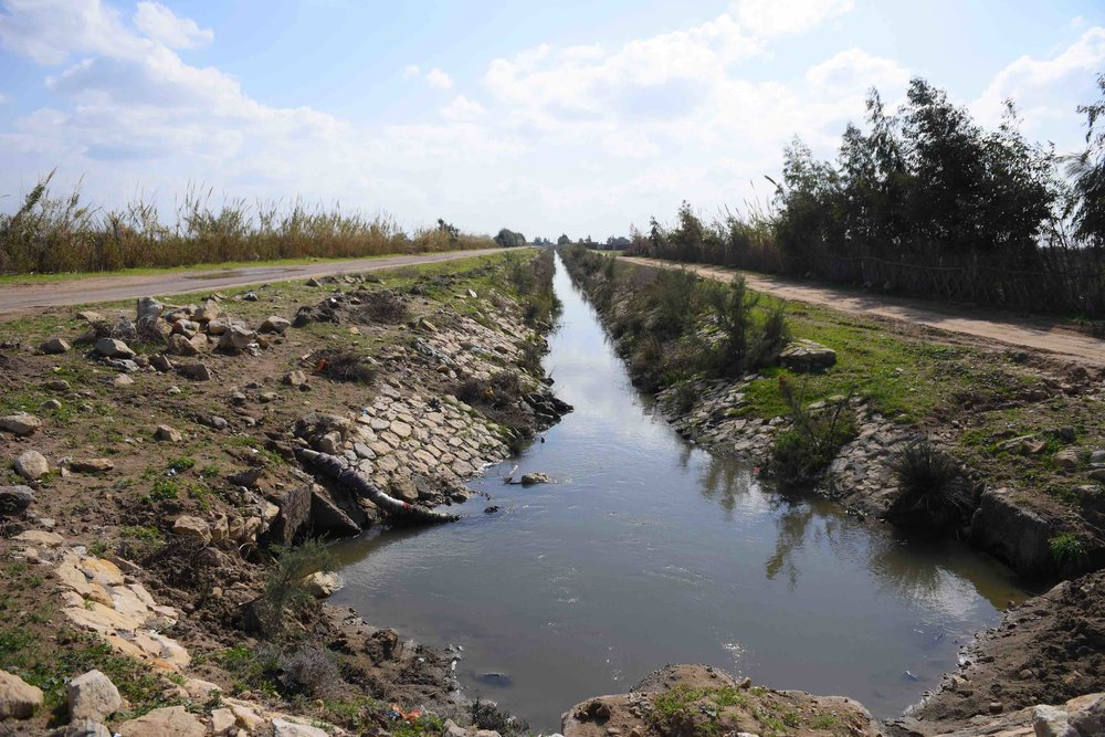 Water canals made by farmers for irrigation due to an ongoing decrease in water availability, especially during the summer months