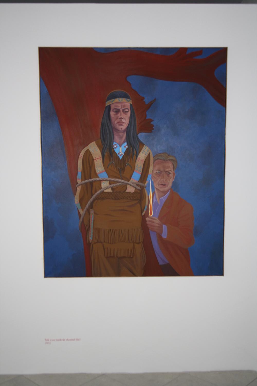 13. Tomáš Císařovský   Tak o co tenkrát vlastně šlo?   2002, olej, plátno   150 x 120 cm