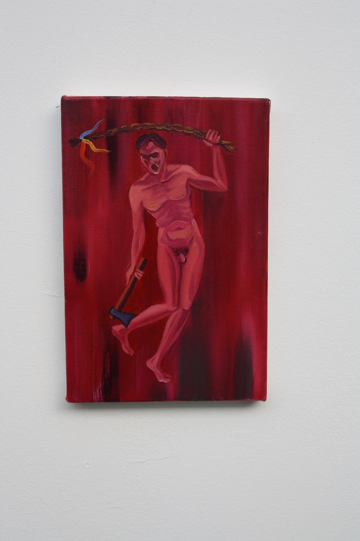 18. Tomáš Císařovský   Folklór   2009, olej, plátno   30 x 20 cm