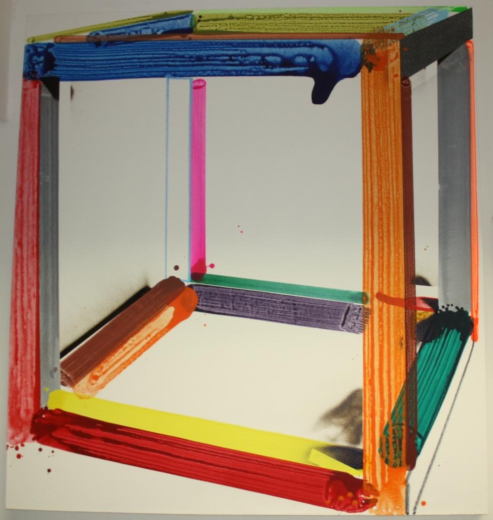 1. David Hanvald   Z cyklu Objekty – Sol Le Witt (1969)   2012, akryl, sprej na plátně   165 x 151,5 cm