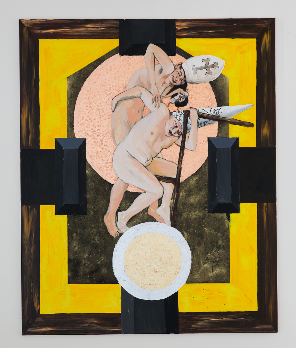 19. Luděk Rathouský   Dance II.   2013, akryl na plátně, kov, puncování   130 x 160 cm