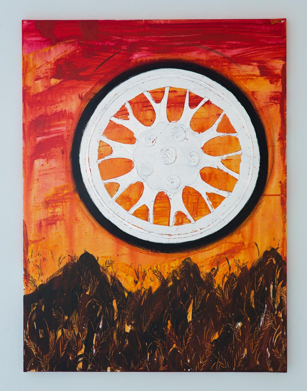 21. Luděk Rathouský   Sunset   akryl na plátně, kov, puncování   60 x 80 cm