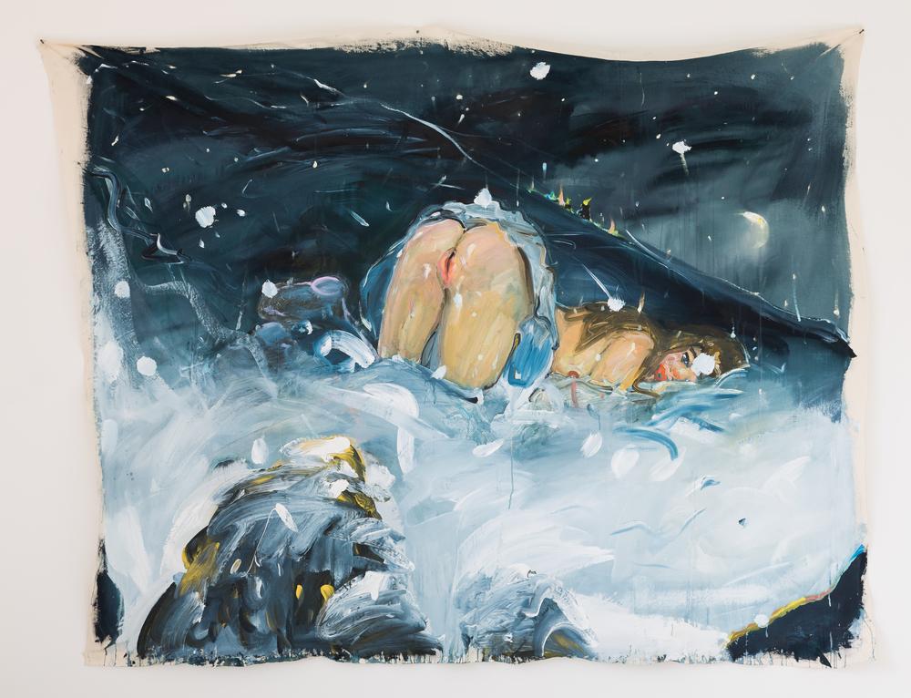 39. Katarina Janečková   Zvedavá a mladá, po nociach šťastie hľadá   2013, akryl na plátně   185x210 cm