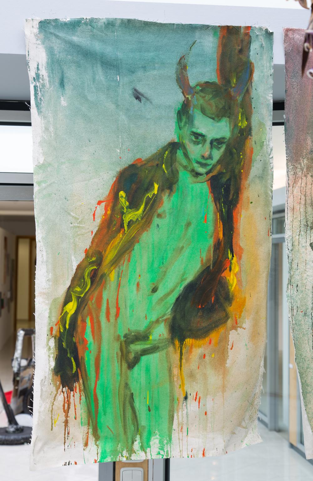 42. Andrej Dúbravský   green pill   2013, akryl na plátně   125 x 70 cm
