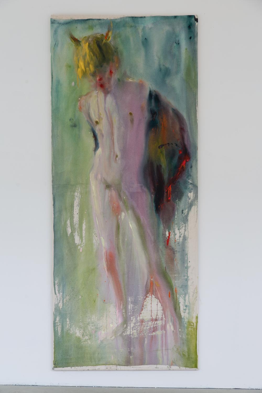 45. Andrej Dúbravsk   bez názvu (žltý kontrapost)   2013, akryl na plátně   200 x 90 cm