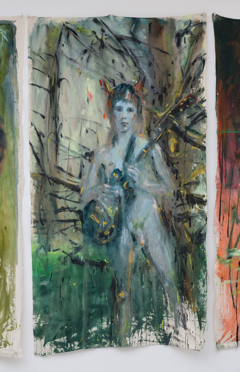 47. Andrej Dúbravský   bez názvu (giraeista v lese)   2013, akryl na plátně   200 x 100 cm