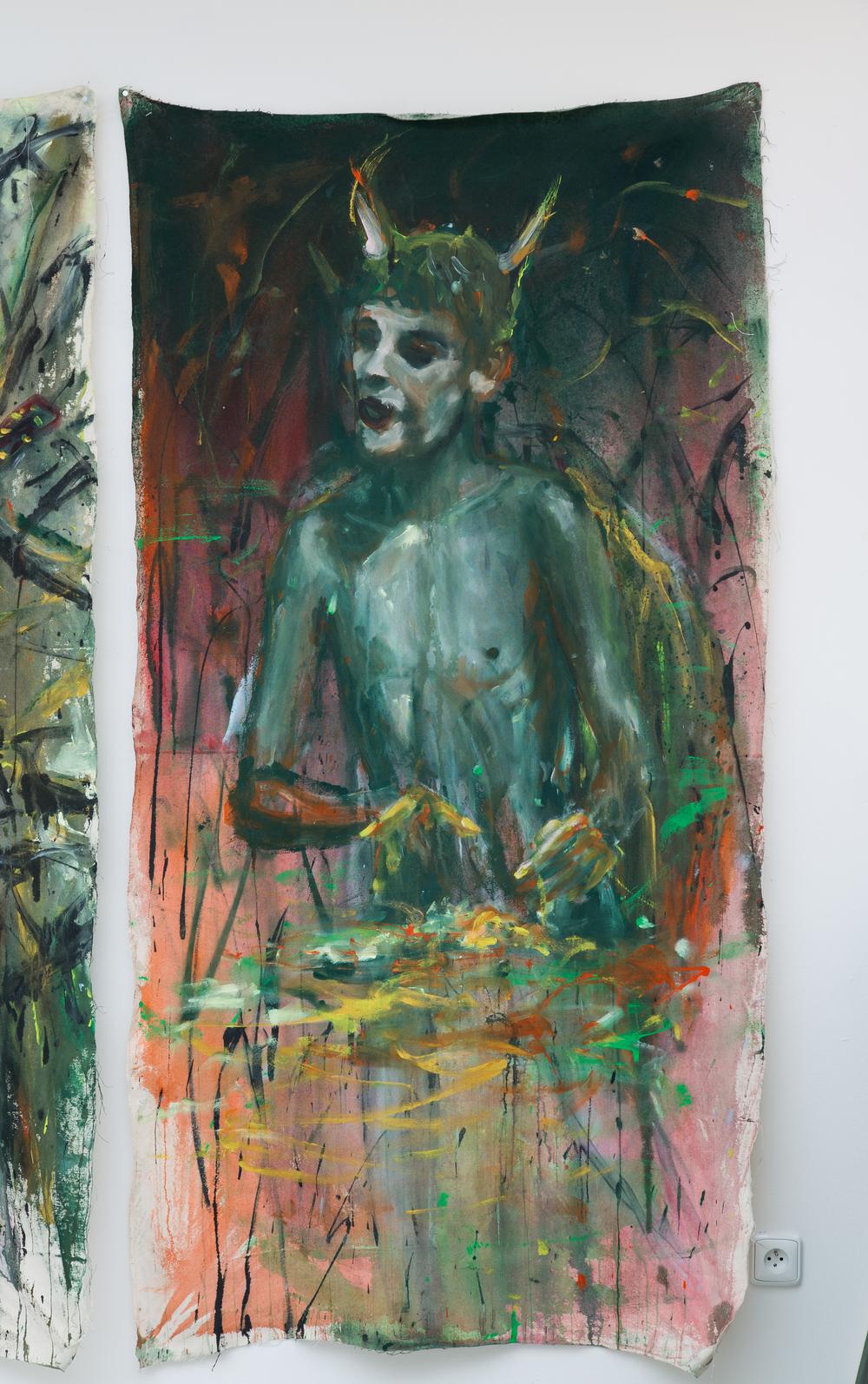 8. Andrej Dúbravský   horúca voda   2013, akryl na plátně   200 x 100 cm