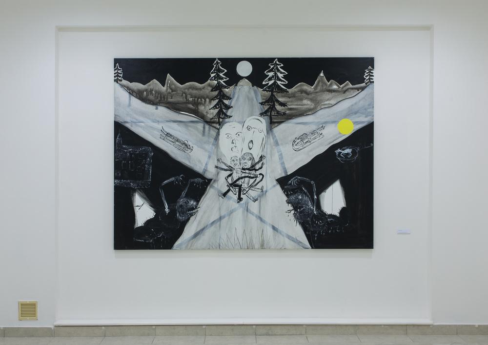 6. Václav Girsa   Noc je temná jako hřích   2013, akryl na plátně 90 x 70 cm   155 x 200 cm