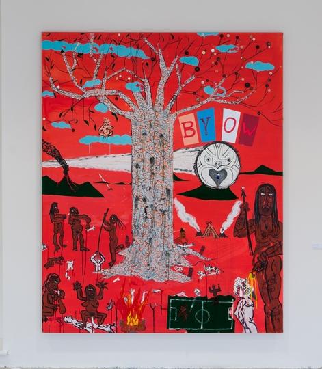 12. Václav Girsa   BYOW   2008, kombinovaná technika, plátno, víno, 160 x 200 cm