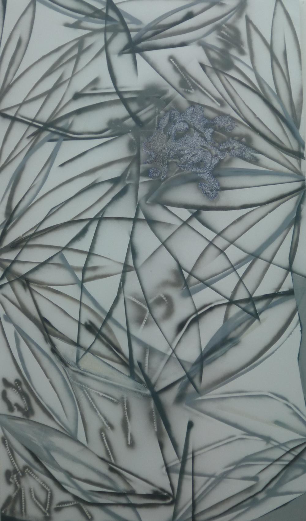 12.Ležím v trávě a vidím duši kytky, 2015, kombinovaná technika, 184 x 319
