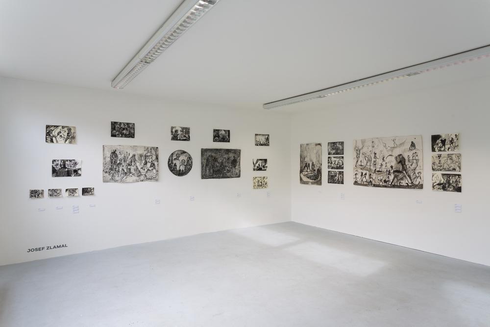 Josef Zlámal, pohled do instalace, tuš na ručním papíře, 2009 - 2015