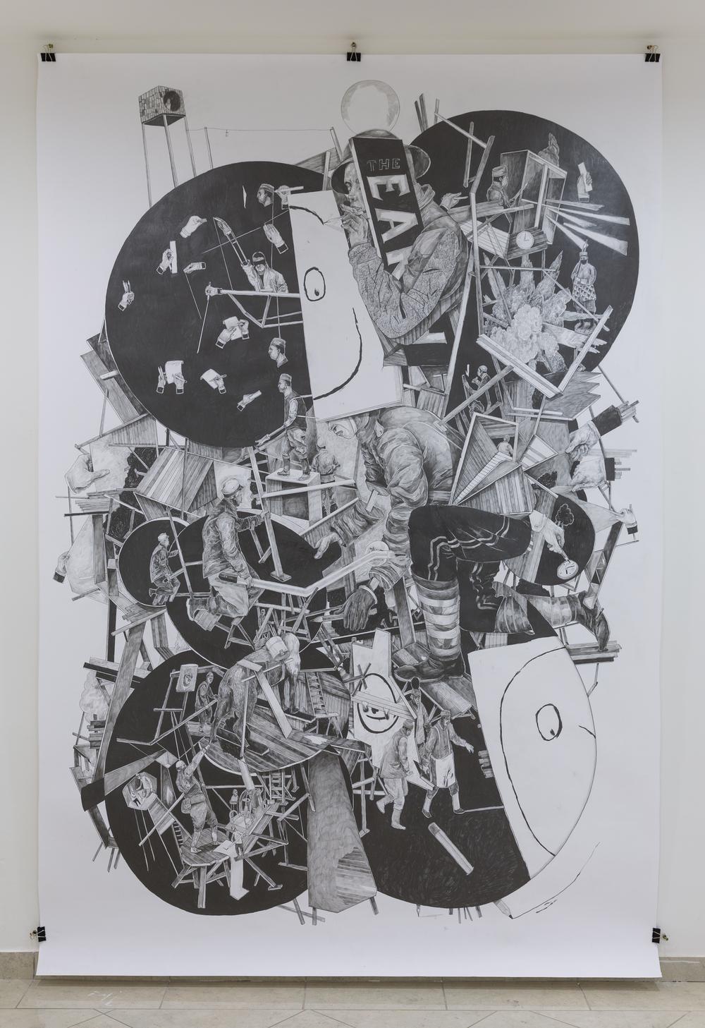 David Böhm - Jiří Franta, Z nadání paní Phalaccusové, profesora a paní Cheetahové si pamatuji řízek citrónu a ukousnuté cukroví, 2014, tužka na papíře, 270 x 182 cm