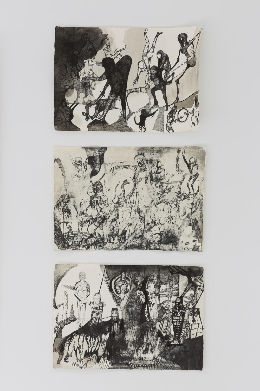Josef Zlámal, bez názvu, 2015, tuš na ručním papíře, 29 x 42 cm, 3x