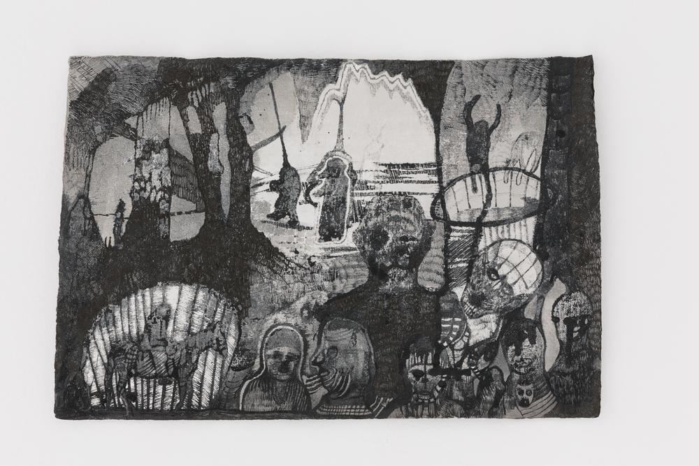 Josef Zlámal, bez názvu, 2014, tuš na ručním papíře, 23 x 42 cm