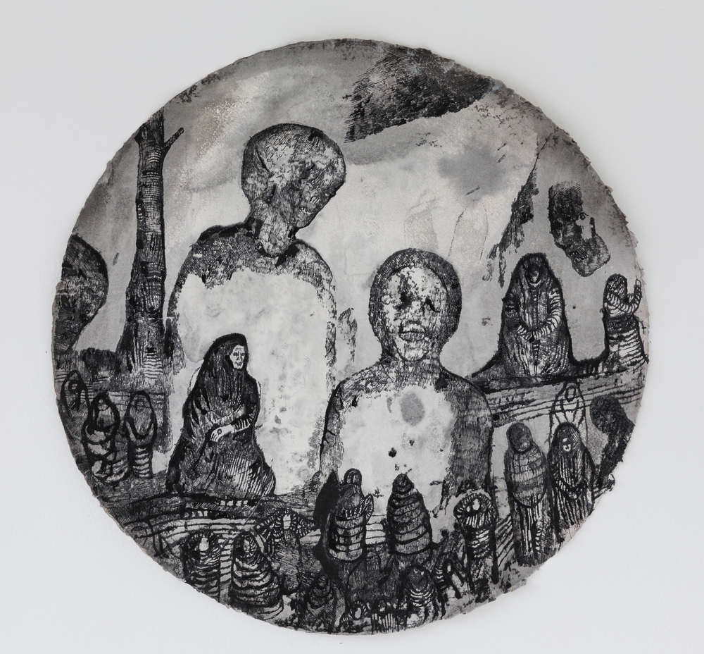 Josef Zlámal, bez názvu, 2012, tuš na ručním papíře, prum. 56 cm
