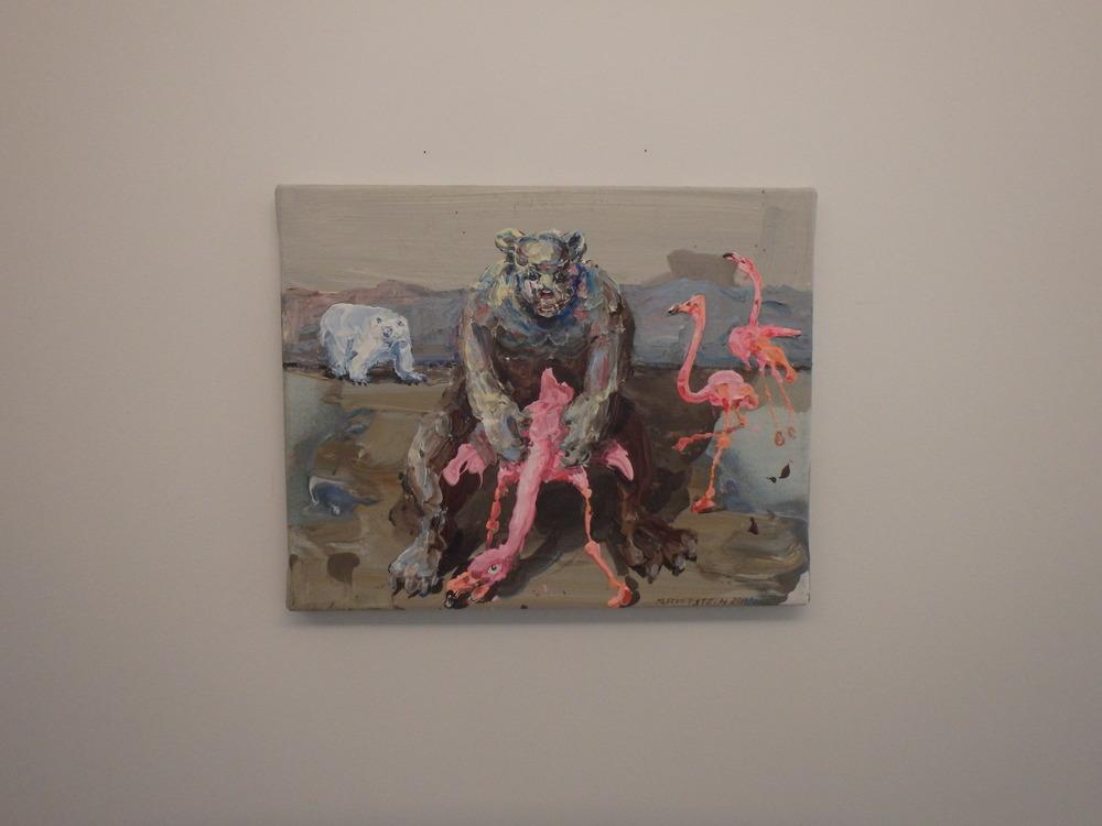 Michael Rittstein, Záliba v růžové, 2014, plátno, akryl 50 x 40 cm
