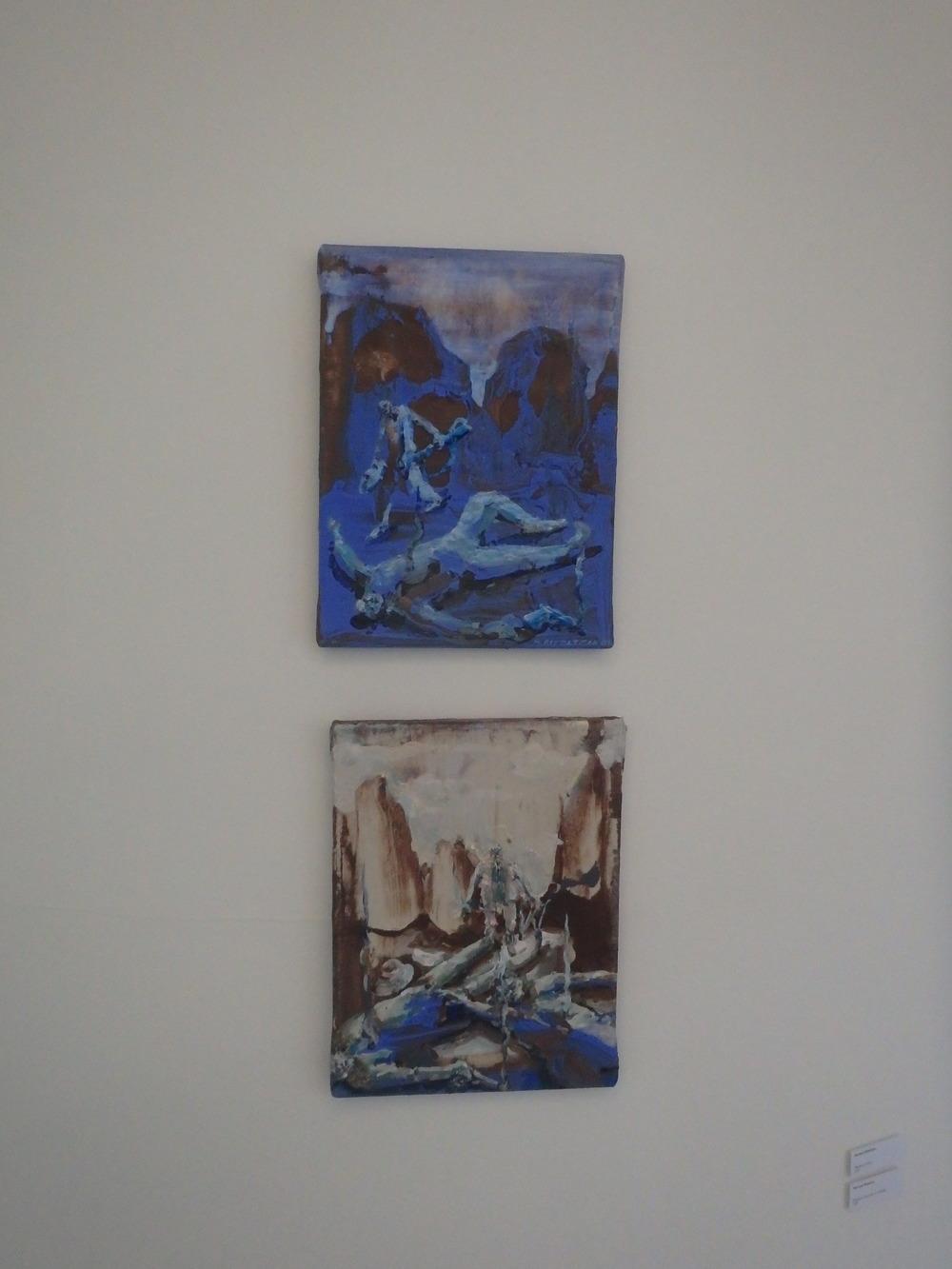 Michael Rittstein, Předání peněz, 2011, plátno, akryl, 30 x 40 cm 32 500 Kč    Michael Rittstein, Předání (dopadlo to dobře), 2011, plátno, akryl, 30 x 40 cm