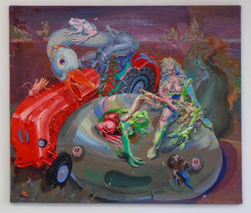 Michael Rittstein, Pulec a traktor, 2015, plátno, akryl, 210 x 180 cm