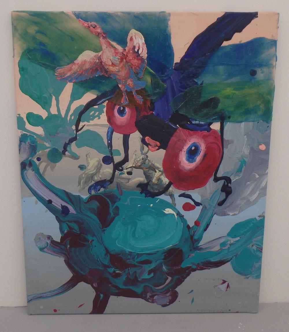 Michael Rittstein, Dominantní kedlubna (a vážka), 2014, plátno, akryl, 80 x 100 cm