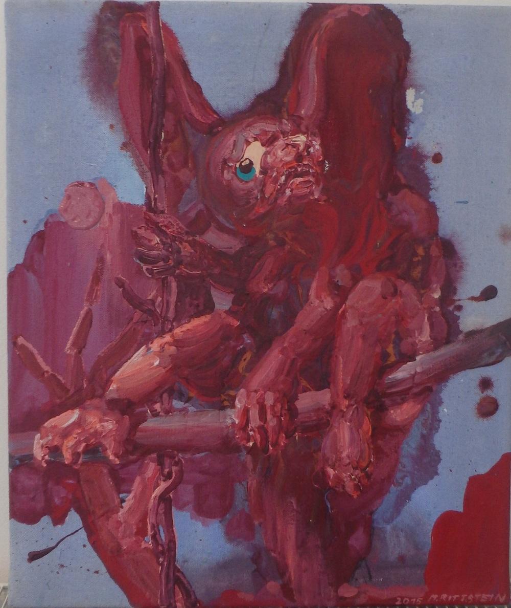 Michael Rittstein, Noční lovec, 2015, plátno, akryl, 50 x 60 cm