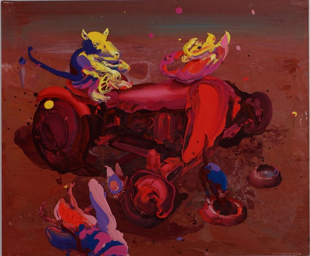 Michael Rittstein, Traktor a misky na kočičí žrádlo, 2013, plátno, akryl, 180 x 150 cm