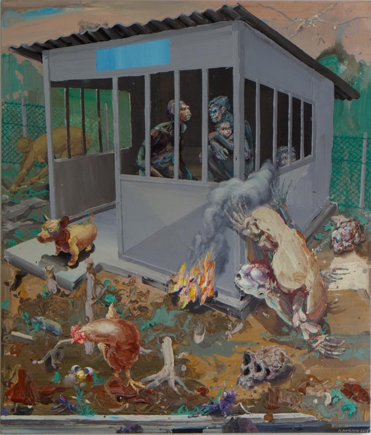 Michael Rittstein, Čekárna na minulost (evoluční), 2013 plátno, akryl, 210 x 180 cm